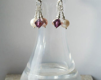 Silver Chandelier Pearl Drop Earrings - Sterling Silver Earrings of Pink and White Freshwater Pearls with Amethyst Swarovski Crystal Drops
