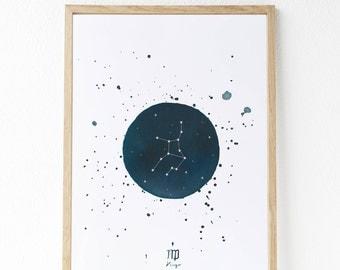 Constelaciones pintadas con acuarelas:  Virgo - Libra - Escorpio - Sagitario