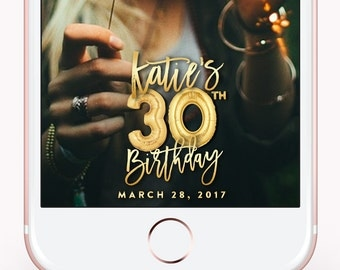 Birthday Snapchat Filter, Birthday Filter, Geofilter, Snapchat 30th birthday for her, 30th Birthday Gift for him, Decorations, Gold Balloons