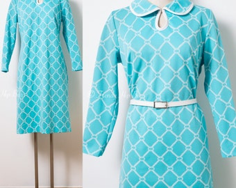 Mod Dress, Vintage Turquoise Dress, 60s Dress, Mad Men Dress, Vintage blue dress, 60s shift dress, 60s Mod Dress, Vintage Knit Dress - M/L
