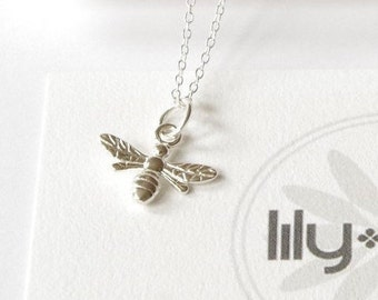 Sterling Silver bee necklace, bee jewelry, small bee, bumble bee, girlfriend necklace, insect, bee charm, bee pendant gift,