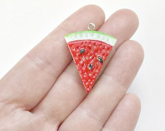 10 Watermelon Charms - Watermelon Pendants - Resin - Watermelon - Double Sided - #PR007