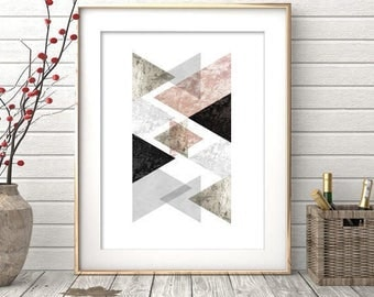 Geometric Print, Scandinavian Mid Century Art, Scandi Poster, Printable Art, Modern Minimalist, Grey Scandinavian Decor, Geometric Art