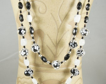 Moonstone and Lampwork bead Necklace, Black and white Necklace, Black earring,Moonstone earrings, Agate Earrings, Free Shipping, Item #434