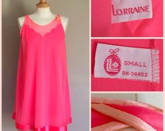 1960s Mod Chiffon Nylon Babydoll | Vintage Lorraine Nightgown | Hot PInk S/M