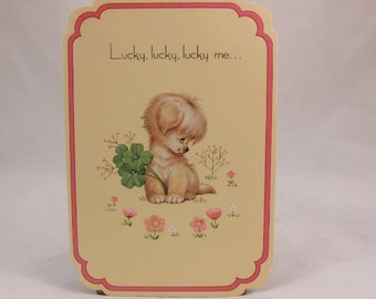 Mothers Day Greeting Card and Envelope. Love 'n Kisses by Drawing Board. Puppy with clover