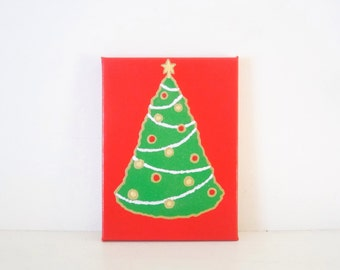 Christmas Paintings Etsy - Red Christmas Tree For Sale