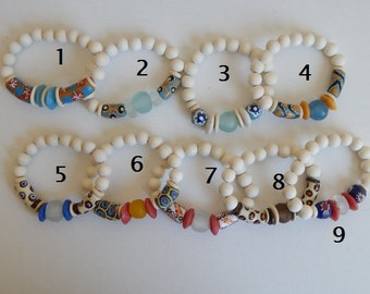 SALE African trade beads with whitewood beads, beach chic, organic jewelry, beach boho, light blue, recycled glass, krobo beads