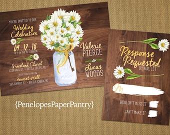 Rustic Daisy Wedding Invitation,Mason Jar,White Daisy Bouquet,Summer Wedding,Romantic,Elegant,Custom,Printed Invitation,Wedding Set,Opt RSVP
