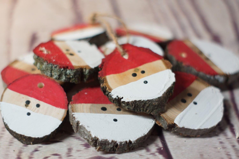 How to make a 3d star christmas decoration - Santa Christmas Ornament Set Hand Painted Christmas Ornaments Wood Slice Ornament Christmas Decorations