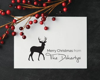 Merry Christmas Stamp, Holiday Stamp, Personalized Christmas Stamp, Holiday Reindeer Stamp, Gift Wrap Stamp,  (SXMAS104)