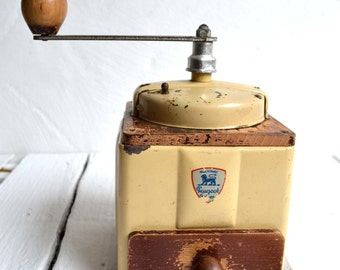 French Vintage Peugeot Freres Cream Metal Enamel Coffee Grinder/Mill