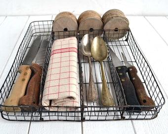 Vintage French Wire Cutlery Utensil Holder Tray Drawer Organizer Kitchen Storage
