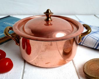 Vintage French Small Dutch Oven Casserole Pan Copper & Brass Cocotte M Delalande Villedieu