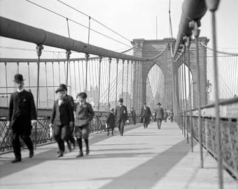 Brooklyn Bridge Pedestrians, 1909. Vintage Photo Reproduction Print. 8x10 Black & White Photograph. New York City, Bridges, 1900s.