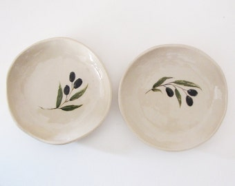 Set of two olive decorated ceramic bowls, Handmade clay dinnerware, Ceramic bowls set