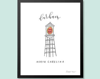 Durham North Carolina Lucky Strike Tower Art Print