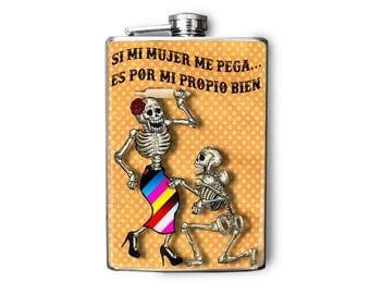 Flask Day of the Dead Skeleton Couple Funny 8oz