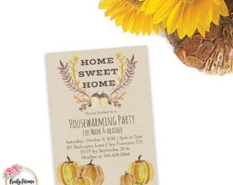 Home Sweet Home - Housewarming Party - Fall or Autumn Theme - Printable Invitation - Pumpkin -  Digital Invitation - BEST SELLER