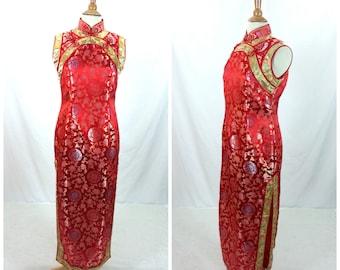 90's Cheongsam Red Maxi Dress Medium / Oriental Asian ethnic 1990's maxi dress long Prom evening cocktail gold dress floral side slits