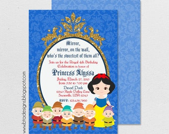 Snow White Princess Birthday Party Invitation 1 With or Without Photo, Customized, Digital File