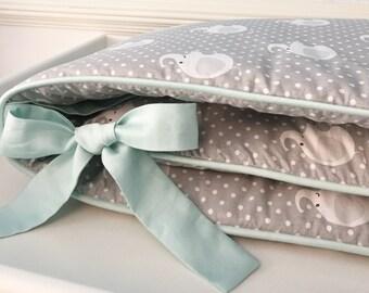 Sweet Elephants Organic Cot Bumper, Crib Bumper, Organic Baby Bedding, Nursery Bedding, Baby Bumper