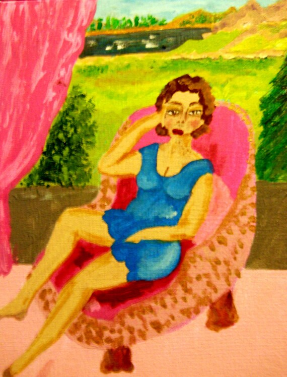 Acrylic Painting The Pink Terrace, by artist, Stacey Torres