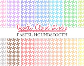 Pastel Houndstooth digital paper, Houndstooth pattern, Digital Houndstooth pastel background, Instant Download for Personal & Commercial Use
