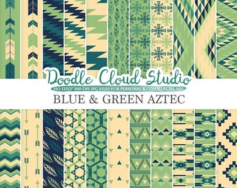 Blue and Green Aztec digital paper ,Tribal patterns native triangles geometric ethnic arrows Cream backgrounds for Personal & Commercial Use