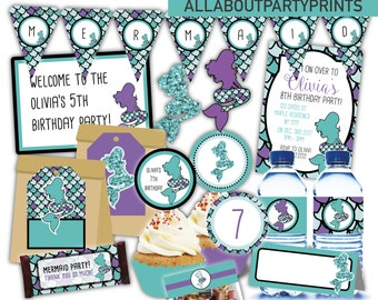 PDF format-Mermaid Birthday party printable- for personal use only