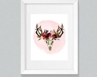 Boho Print, Boho Skull Print, Boho Digital, Boho Art Print, Deer Print, Deer Skull, Deer Antlers, Boho Wall Decor, Boho Wall Art, Boho Decor