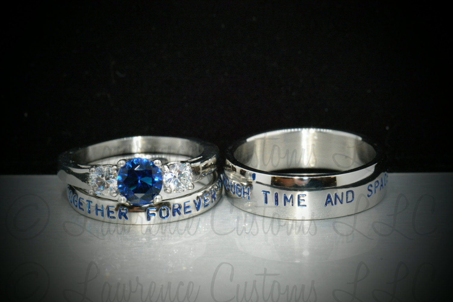 3 Piece Wedding SetHand Stamped Stainless Steel CZ Sapphire