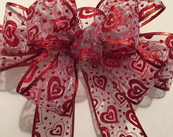 Red Heart Valentine's Day Bow, Wreath Bow