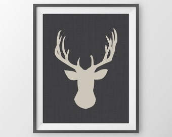 Deer Print Deer Home Decor Deer Bust Deer Wall Art Deer Antlers Print Shabby Chic Wall Decor Doe Print Modern House Decor Deer Illustration