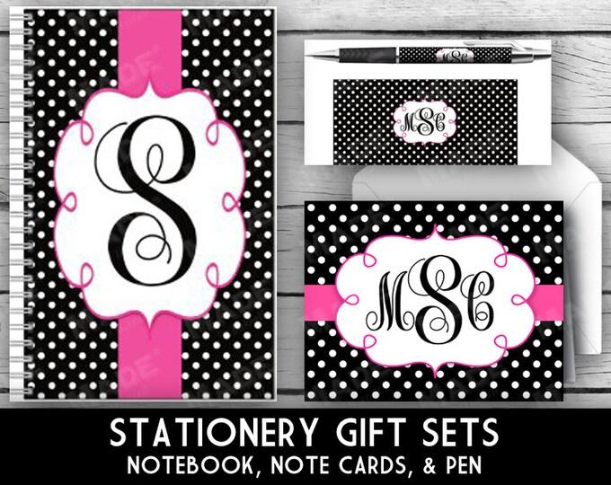 MONOGRAM Stationery Set - Black & White Polka Dot, Gift Sets, Note Pad, Note Cards, Pen, Gold Glitter, Stationery, Christmas Gifts