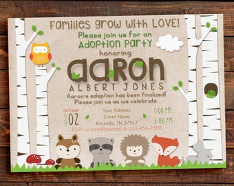 Adoption party invitation, adoption party, woodland adoption party