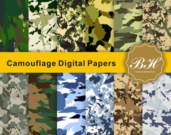Camouflage Digital Paper, Military Scrapbook Paper, Military Textures, Camo Scrapbook Papers, Army Wallpaper, Background, Instant Download
