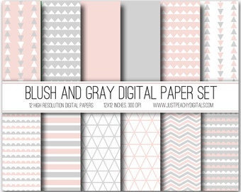 blush pink and gray modern digital scrapbook paper with geometric patterns