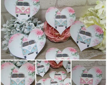 8  Retro Shabby Chic Campervan Heart Table Cards Decoration,Wedding,Party,Table Decor, Gift tags,Crafts,Cardmaking,