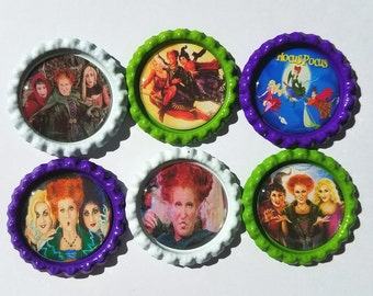 Set of 6 Hocus Pocus Finished Bottle Caps