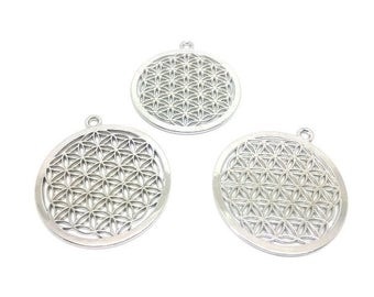 3 charms flowers of life silver plate 44x40mm