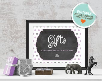 Elephant Baby Shower Table Signs, Purple, Gray, Polka Dots (Matches Chalkboard, Balloon) | Editable, Instant Download