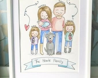 "8"" x 10"" Family Portrait Original Watercolour Illustration"