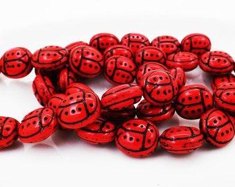 Czech Ladybug Beads (6) Traditional Deep Red Ladybug Beads 13X11MM