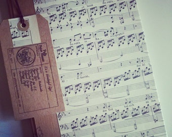 SHEET MUSIC NOTEBOOK - Made to Order - A hand bound notebook re using vintage sheet music