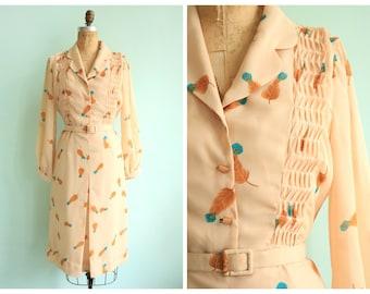 Vintage 1960's Feather Print Chiffon Dress | Size Medium
