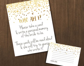 who am i game, bridal shower games, wedding shower games, instant download bridal shower games - br18