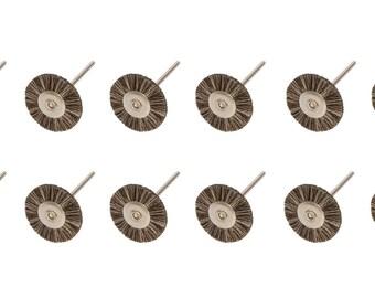 "Pack of 12 - 7/8"" Mounted Soft Bristle Rotary Brushes w/ 3/32"" Mandrel Jewelry Making Polishing Metal Finishing Tool - BRS-408.00"