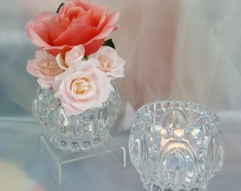 1 per / Ornate Glass Flower Vase or Votive Holder for Weddings, Receptions or Rehearsal Dinner, Centerpiece, Sweetheart table, candy dish