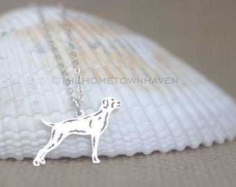 Pointer dog Necklace - Personalized dog necklace, dog silhouette necklace, rescue dog
